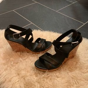 Cole Haan Black leather & cork wedge sandals 8.5